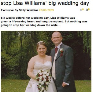 Heart & lung transplant didn't stop Lisa Williams' big wedding day