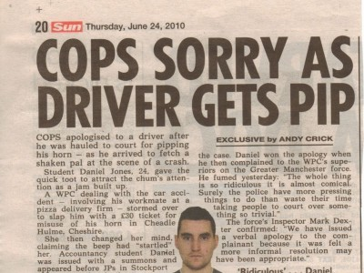 Cops sorry as driver gets pip