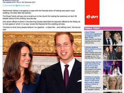 Royal Wedding Cost Burden